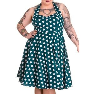 Hell Bunny Vixen Polka Dot Halter Pinup Dress